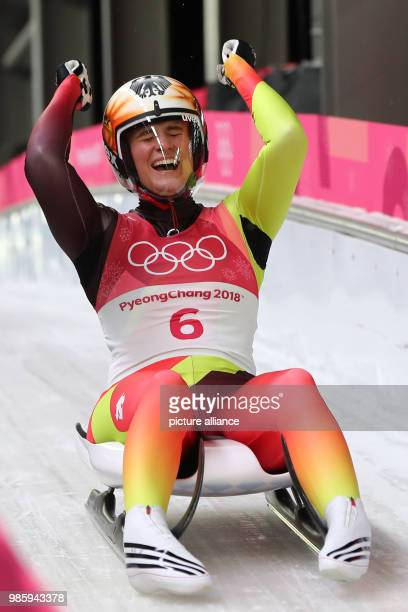 Germany's Natalie Geisenberger celebrates winning gold in the women's single luge competetion on day four of the Pyeongchang 2018 Winter Olympics...