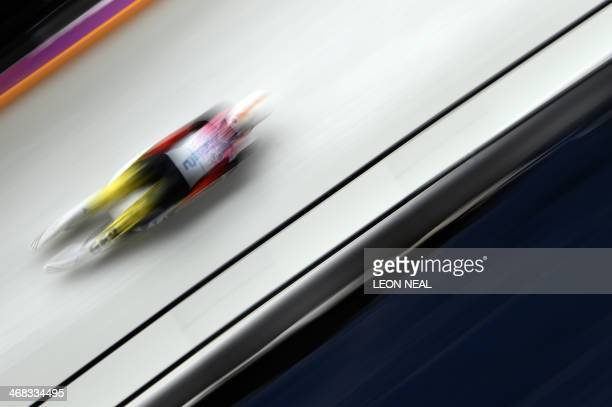 Germany's Natalie Geisenberger competes during the Women's Luge Singles run one at the Sliding Center Sanki during the Sochi Winter Olympics on...