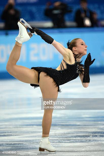Germany's Nathalie Weinzierl performs in the Women's Figure Skating Short Program at the Iceberg Skating Palace during the Sochi Winter Olympics on...