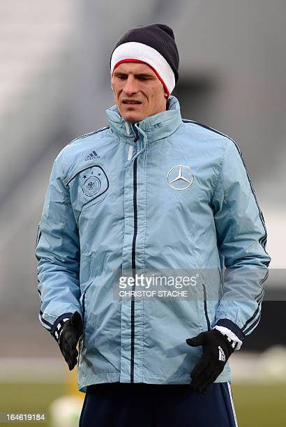 Germany's national football player striker Mario Gomez attends a training in the stadium in Fuerth southern Germany on March 25 ahead of their 2014...
