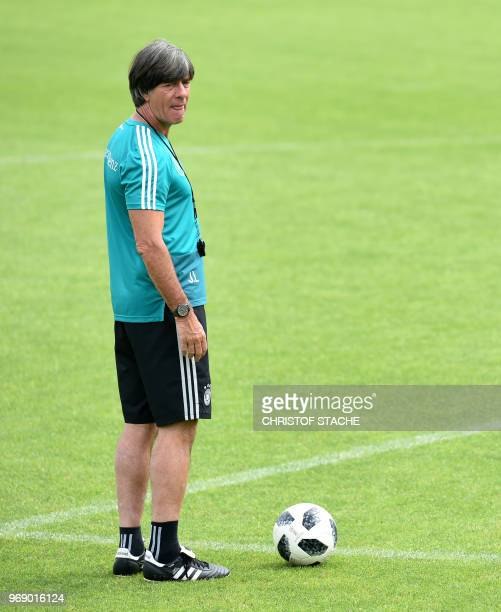 Germany's national football team head coach Joachim Loew attends a training session at the Rungghof training centre on June 7, 2018 in Eppan near...
