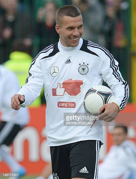 Germany's national football team Lukas Podolski attends a training session at the Lech stadium on June 4 2012 in Gdansk four days ahead of the start...