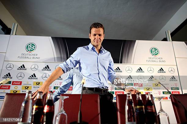 Germany's national football team manager Oliver Bierhoff attends a press conference on September 04, 2012 in Barsinghausen, Germany, three days...