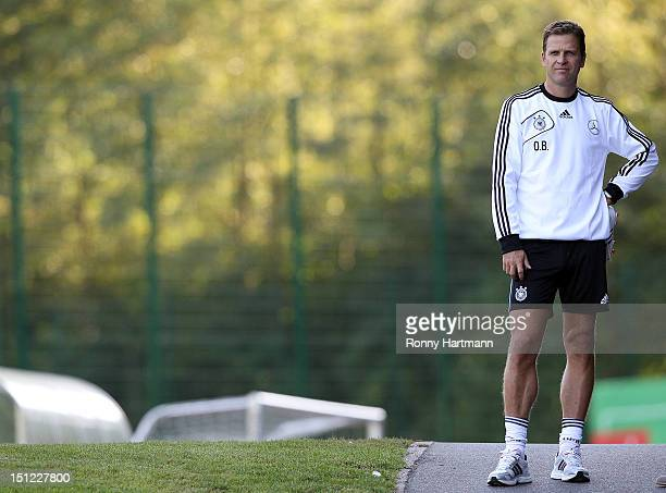Germany's national football team manager Oliver Bierhoff attends a training session on September 04, 2012 in Barsinghausen, Germany, three days...