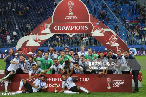 Germany's national soccer team's players and officials celebrate after victory in the Confederations Cup 2017 Final match Chile Germany at...