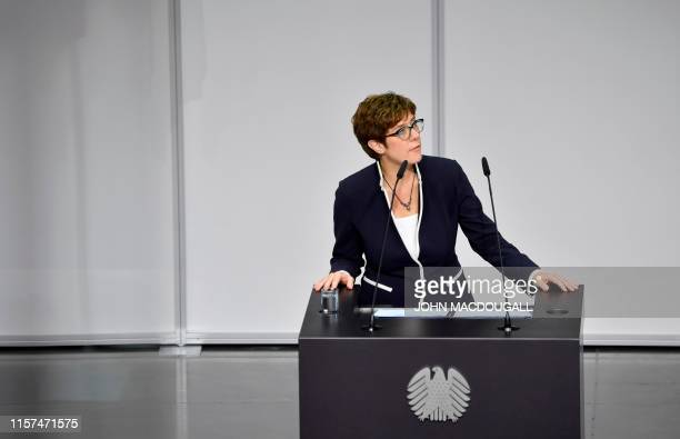 Germany's new Defence Minister Annegret KrampKarrenbauer gives a speech after taking her oath during her swearing in ceremony on July 24 2019 at the...