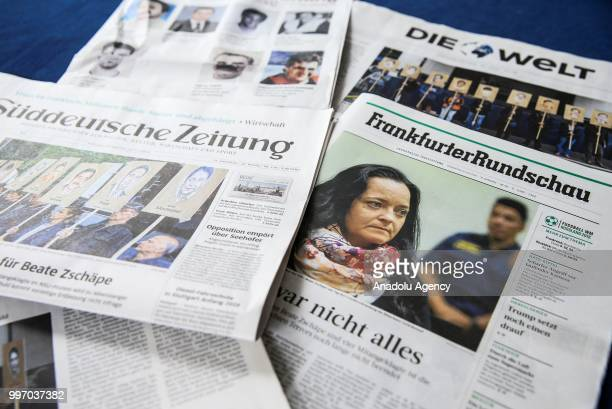 Germany's newspapers are seen after the German court announced its verdict on Cologne bombing attack, conducted by neo-Nazi terrorist group National...