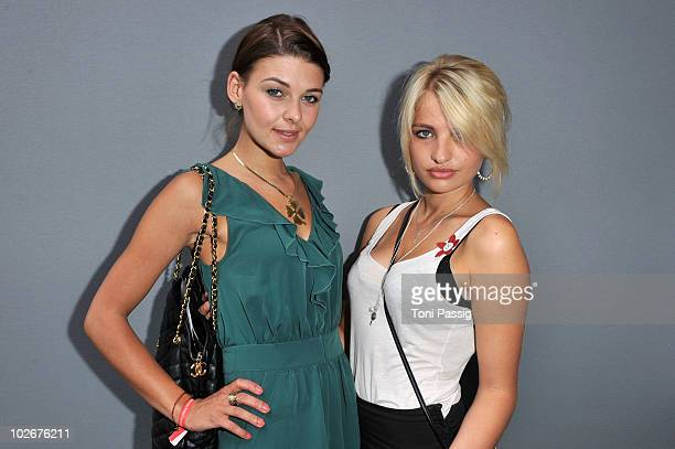 'Germany's Next Topmodel' attendees Jana Delia Schmidt and Sarina Nowak arrive at the Lena Hoschek Show during the Mercedes Benz Fashion Week...
