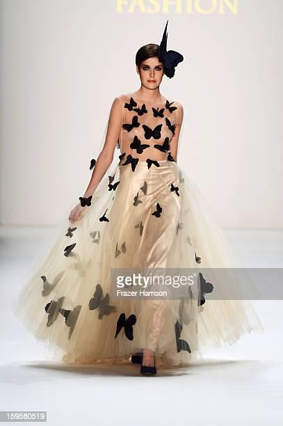 'Germanys Next Topmodel' candidate Marie Nasemann walks the runway at the Agne Kuzmickaite Igrida Zabere Kaetlin Kaljuvee Autumn/Winter 2013/14...