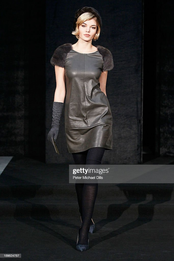 'Germany's next Topmodel'candidate Luisa Hartema poses at Schacky And Jones Show Autumn/Winter 2013/14 fashion show during Mercedes-Benz Fashion Week Berlin at Brandenburg Gate on January 15, 2013 in Berlin, Germany.