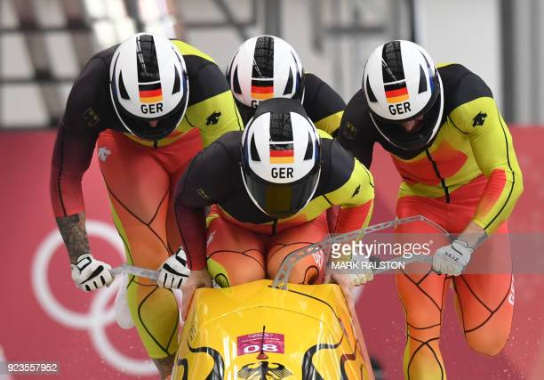TOPSHOT Germany's Nico Walther leads his team in the 4man bobsleigh heat 1 run during the Pyeongchang 2018 Winter Olympic Games at the Olympic...