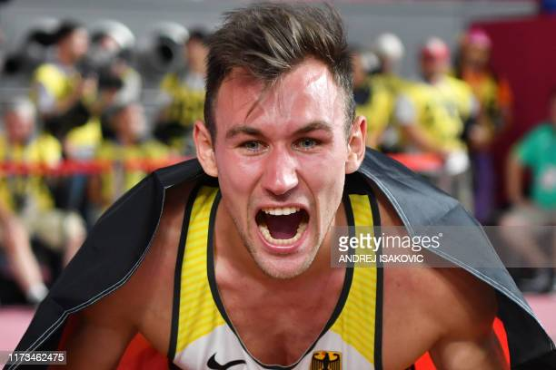 TOPSHOT Germany's Niklas Kaul celebrates after winning the Men's Decathlon at the 2019 IAAF Athletics World Championships at the Khalifa...