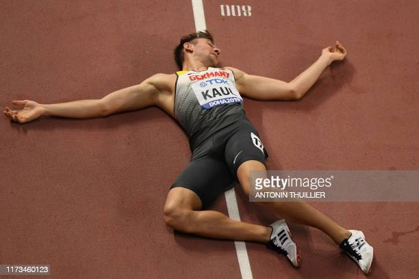 Germany's Niklas Kaul reacts after winning the Men's 1500m Decathlon final at the 2019 IAAF Athletics World Championships at the Khalifa...