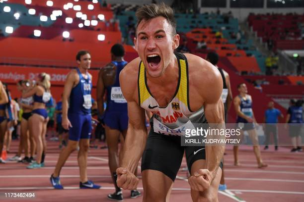 TOPSHOT Germany's Niklas Kaul reacts after winning the Men's 1500m Decathlon final at the 2019 IAAF Athletics World Championships at the Khalifa...