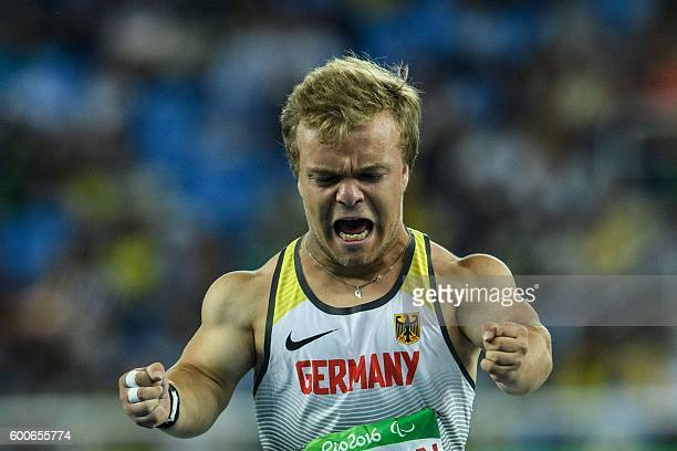 Germany's Niko Kappel competes during final of men's shot put F41 of the Rio 2016 Paralympic Games at Olympic Stadium in Rio de Janeiro on September...