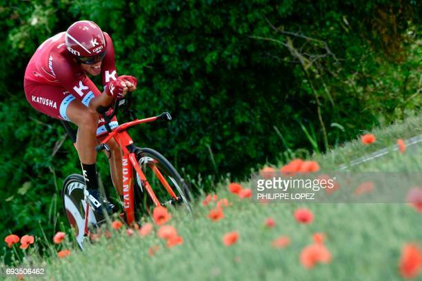 Germany's Nils Politt rides during a 235 km individual timetrial the fourth stage of the 69th edition of the Criterium du Dauphine cycling race on...