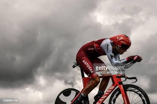 Germany's Nils Politt rides during the 20th stage of the 105th edition of the Tour de France cycling race a 31kilometer individual timetrial between...