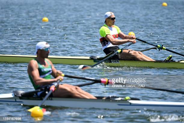 Germany's Oliver Zeidler competes in the men's single sculls quarterfinal during the Tokyo 2020 Olympic Games at the Sea Forest Waterway in Tokyo on...