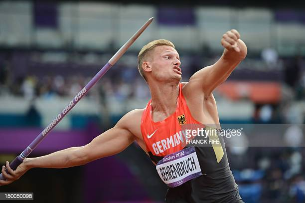 Germany's Pascal Behrenbruch competes in the men's decathlon javelin throw at the athletics event during the London 2012 Olympic Games on August 9,...