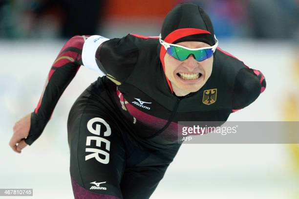 Germany's Patrick Beckert competes in the Men's Speed Skating 5000m at the Adler Arena during the 2014 Sochi Winter Olympics on February 8 2014 Speed...