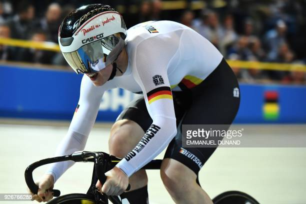 Germany's Pauline Grabosch competes in the women's 500 metre timetrial final during the UCI Track Cycling World Championships in Apeldoorn on March 3...
