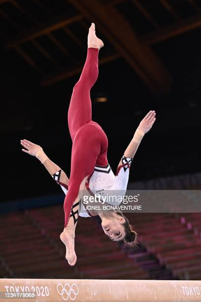 Germany's Pauline Schaefer-Betz competes in the artistic gymnastics balance beam event of the women's qualification during the Tokyo 2020 Olympic...