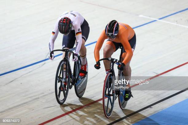 Germany's Pauline Sophie Grabosch and Netherland's Shanne Braspennincx compete Women`s sprint Quarterfinals during UCI Track Cycling World...