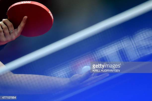 Germany's Petrissa Solja serves the ball to Renata Strbikova of the Czech Republic during the table tennis women's team semifinal match at the 2015...
