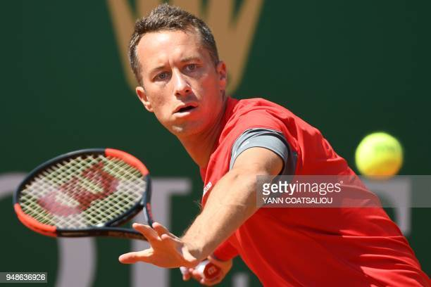 Germany's Philipp Kohlschreiber returns the ball to Bulgaria's Grigor Dimitrov during their tennis match as part of the MonteCarlo ATP Masters Series...