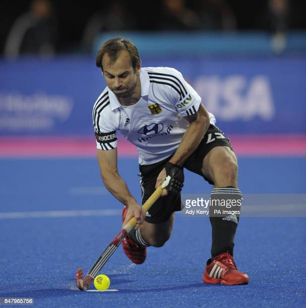 Germany's Philipp Zeller scores the fifth goal from the penalty spot against Australia during the Visa International Invitational Hockey Tournament...