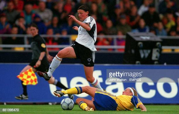 LR Germany's Pia Wunderlich attempts to hurdle Sweden's Kristin Bengtsson's challenge
