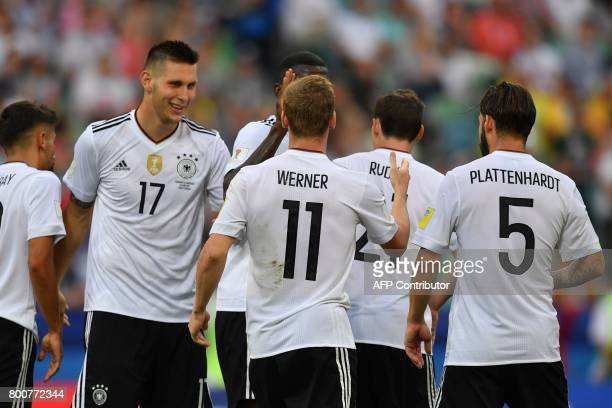 Germany's players celebrate a goal during the 2017 FIFA Confederations Cup group B football match between Germany and Cameroon at the Fisht Stadium...