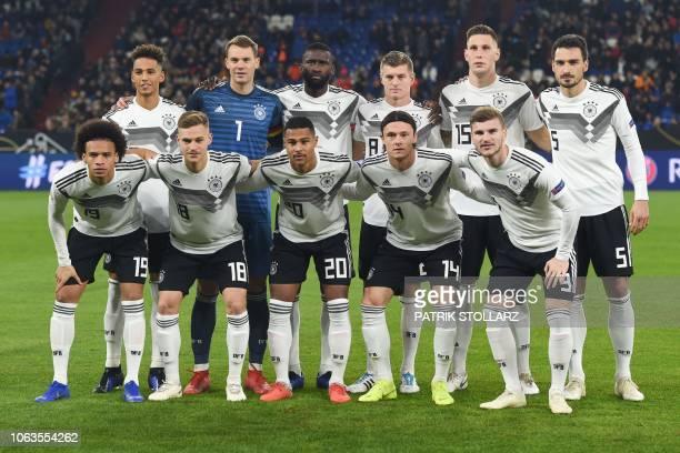 Germany's players defender Thilo Kehrer goalkeeper Manuel Neuer defender Antonio Ruediger midfielder Toni Kroos defender Niklas Suele and defender...