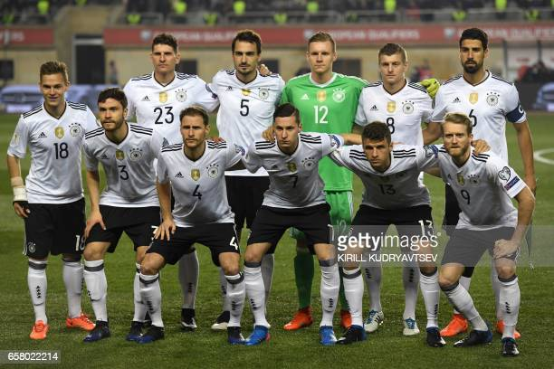 Germany's players front row from L Joshua Kimmich Jonas Hector Benedikt Hoewedes Julian Draxler Thomas Mueller Andre Schuerrle back row from L Mario...