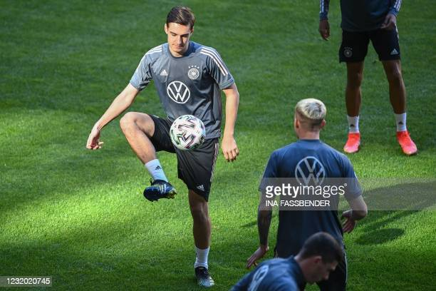 Germany's players including Germany's midfielder Florian Neuhaus take part in a training session in Duesseldorf on the eve of the FIFA World Cup...