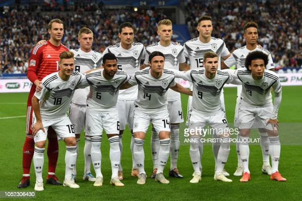 Germany's players pose before the UEFA Nations League football match between France and Germany at the Stade de France in SaintDenis near Paris on...