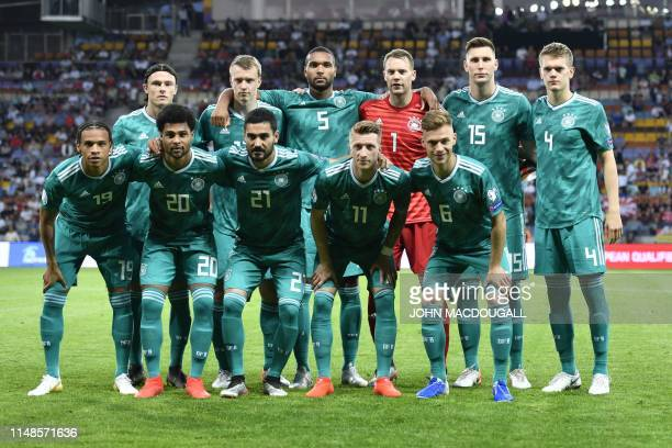 Germany's players pose for a team photo prior to the Euro 2020 football qualification match between Belarus and Germany in Borisov outside Minsk on...