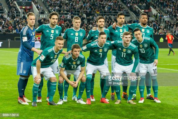 Germany's players pose for a team photo prior to the international friendly football match of Germany vs Spain in Duesseldorf western Germany on...