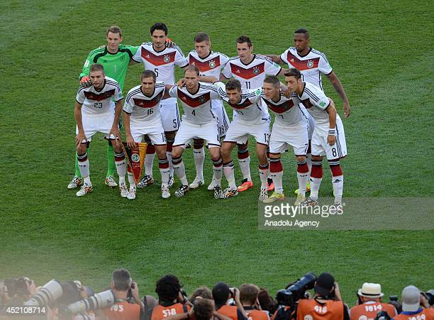 Germany's players pose prior to the final of the FIFA World Cup 2014 between Germany and Argentina at the Maracana stadium in Rio de Janeiro Brazil...