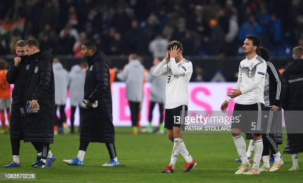 Germany's players react after the UEFA Nations League football match between Germany and the Netherlands on November 19 2018 in Gelsenkirchen