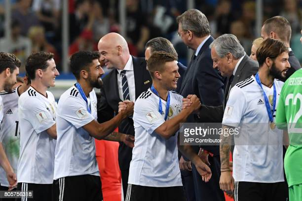 Germany's players receive their medals after winning the 2017 Confederations Cup final football match between Chile and Germany at the Saint...