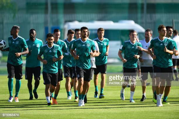 Germany's players warm up during a training session in Vatutinki near Moscow on June 15 as part of the Russia 2018 World Cup football tournament /