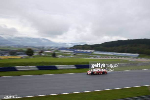 """Germany's Rene Rast of the Audi Sport Team Rosberg, takes part in the third free practice session at the DTM """"Deutsche Tourenwagen Meisterschaft"""" at..."""