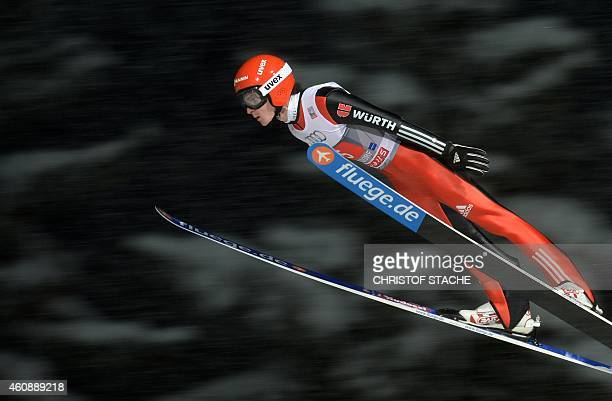 Germany's Richard Freitag competes during a training session ahead of the first FourHills Ski jumping tournament in Oberstdorf southern Germany on...