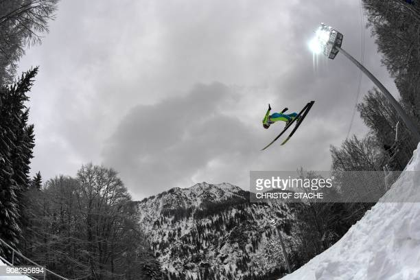 TOPSHOT Germany's Richard Freitag competes during his trial jump of the team competition of the skiflying world championships in Oberstdorf southern...