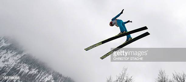 Germany's Richard Freitag jumps during trial jump of the FIS Ski Jumping World Cup individual flying hill competition in Oberstdorf southern Germany...