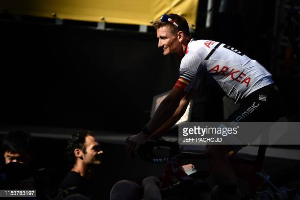 Germany's rider Andre Greipel of France's Team Arkea-Samsic arrives for the team presentation ceremony at the Grand-Place - Grote Markt Square in...