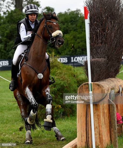 Germany's rider Bettina Hoy and her horse Seigneur Medicott compete during the cross country competition of the FEI European Eventing Championships...