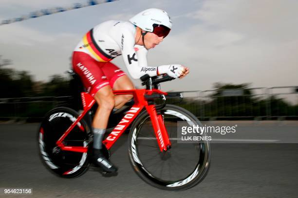 Germany's rider of team Katusha Alpecin Tony Martin rides during the 1st stage of the 101st Giro d'Italia Tour of Italy on May 4 a 97 kilometers...