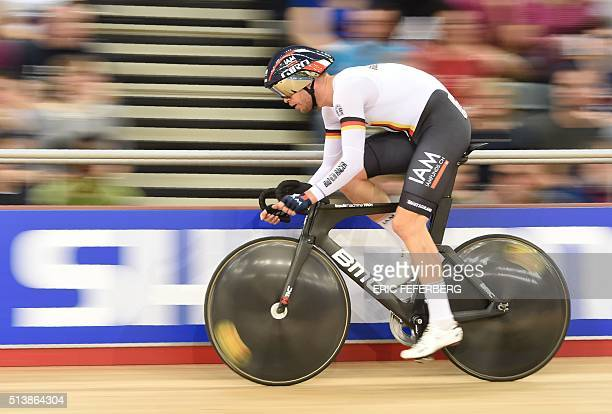 Germany's Roger Kluge competes in the Men's Omnium Flying lap during the 2016 Track Cycling World Championships at the Lee Valley VeloPark in London...